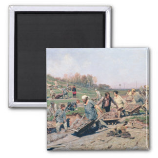 Repair Works on the Railway Line, 1874 2 Inch Square Magnet