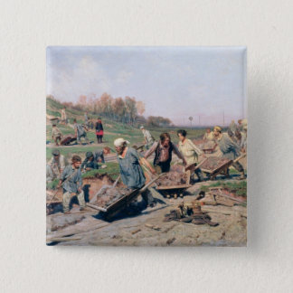 Repair Works on the Railway Line, 1874 Pinback Button