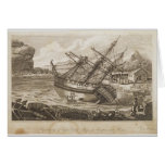 Repairing of Captain Cooks ship Greeting Cards