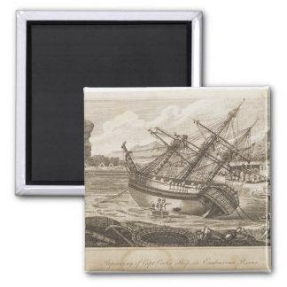 Repairing of Captain Cooks ship 2 Inch Square Magnet