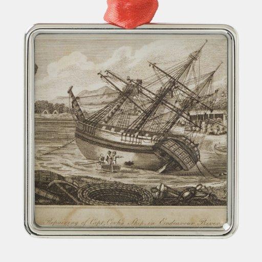 Repairing of Captain Cooks ship Christmas Tree Ornament