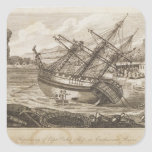 Repairing of Captain Cooks ship Square Stickers