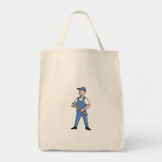 Repairman Holding Spanner Cartoon Tote Bag