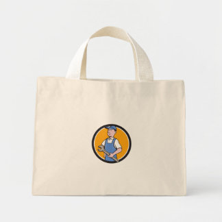 Repairman Holding Spanner Circle Cartoon Mini Tote Bag