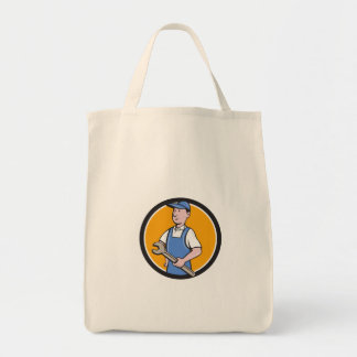 Repairman Holding Spanner Circle Cartoon Tote Bag