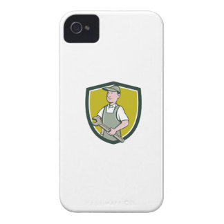 Repairman Holding Spanner Crest Cartoon iPhone 4 Cover