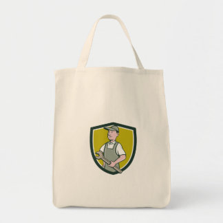 Repairman Holding Spanner Crest Cartoon Tote Bag