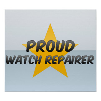 Reparador orgulloso del reloj posters