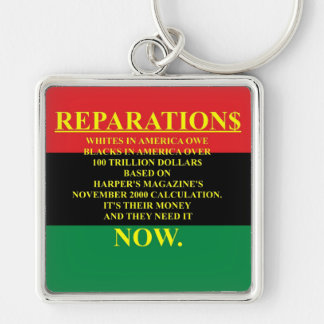 REPARATIONS: IT'S THEIR MONEY, (AA FLAG) Premium S Silver-Colored Square Keychain