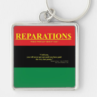REPARATIONS: What would Jesus say (AA FLAG) Premiu Silver-Colored Square Keychain