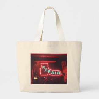 Repare Neon Sign NYC Large Tote Bag