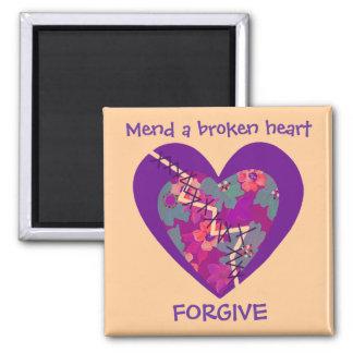 repare un corazón quebrado imán cuadrado