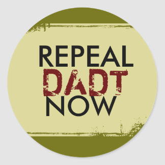 REPEAL , DADT, NOW CLASSIC ROUND STICKER