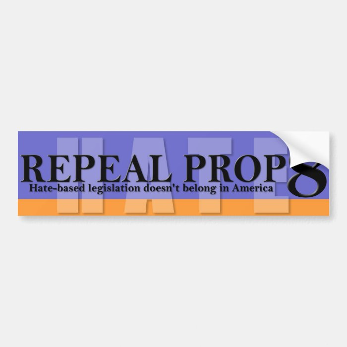 Repeal Prop 8 - Blue/Purplish and Orange Bumper Sticker