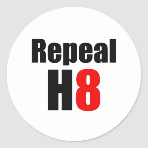 REPEAL PROP 8 / REPEAL H8 CLASSIC ROUND STICKER