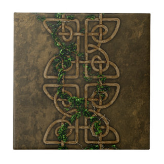 Repeatable Decorative Celtic Knots With Ivy Small Square Tile