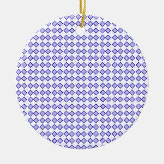 Repeated Pattern -Blue Diamond Pastel Purple Base Ceramic Ornament