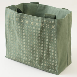 Repeated Pattern Floral Effect Etched on Canvas Tote