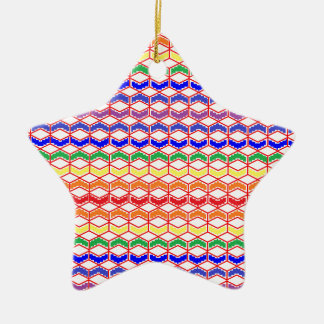 Repeated Patterns Rainbow Ceramic Ornament