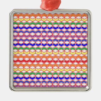 Repeated Patterns Rainbow Metal Ornament