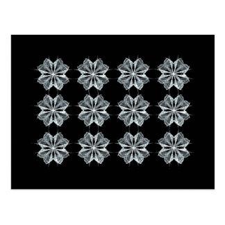Repeating Black & White Fractal Art Design Postcard