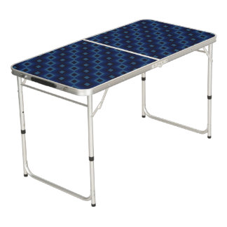 Repeating Blue Diamond Folding Table