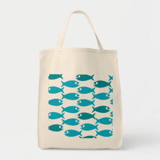 repeating blue fish pattern tote bag