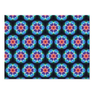 Repeating Blue flower kaleidoscope pattern Photo Print