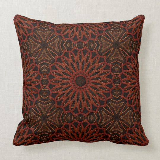 Throw Pillow Rust : Repeating Brown/Rust Mandala Pattern Throw Pillow Zazzle