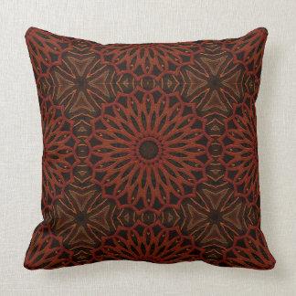 Repeating Brown/Rust Mandala Pattern Throw Pillow