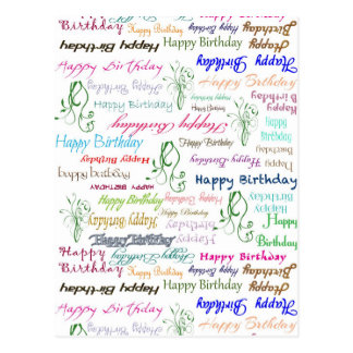 Repeating Colorful Happy Birthday Wishes Print Postcard