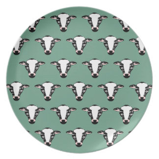 Repeating Cow Face Pattern Plate