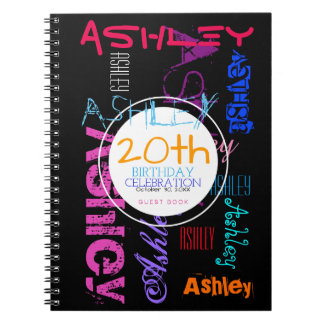Repeating Name 6 Letters 20th Birthday Guest Book Spiral Notebook