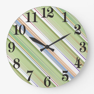 Repeating pattern Colorful lists blue, green and p Large Clock