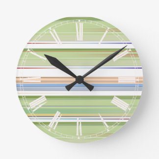 Repeating pattern Colorful lists blue, green and p Round Clock