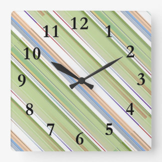 Repeating pattern Colorful lists blue, green and p Square Wall Clock