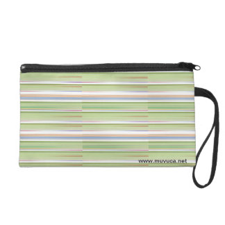 Repeating pattern Colorful lists blue, green and p Wristlet