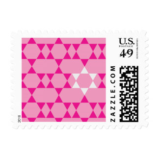Repeating Pink and White Jewish Stars Postage