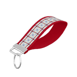Repeating Red & Blue Tiles Wrist Band Key Chain