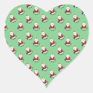 Repeating Santa Heart Stickers