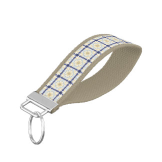 Repeating Tan & Blue Tiles Wrist Band Key Chain Wrist Keychain