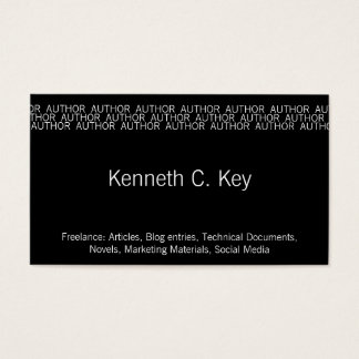 Repeating Word Occupation (Author) Business Card