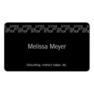 Repeating Word Occupation (Sitter) Business Card
