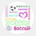 Repetición del fútbol etiquetas redondas