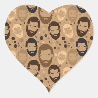 Repetición del modelo de la BARBA del HOMBRE Pegatina En Forma De Corazón