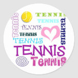 Repetición del tenis pegatina redonda