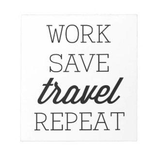 Repetición del viaje de la reserva del trabajo libreta para notas