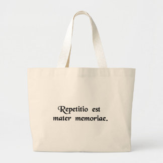Repetition is the mother of memory. jumbo tote bag