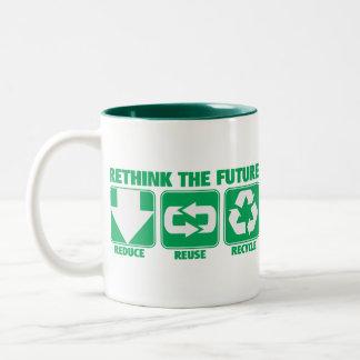 Repiense el futuro, recíclelo taza de café