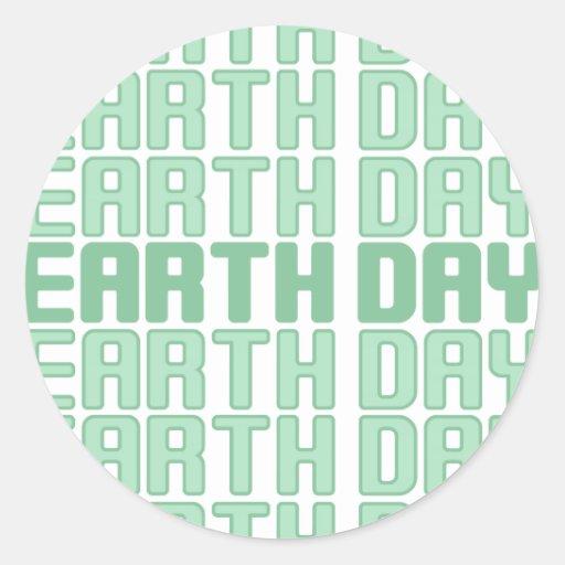 Repita a los pegatinas del Día de la Tierra Pegatina Redonda